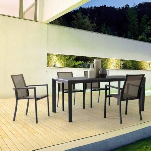 Chaise d'extérieur empilable en aluminium peint Homemotion, 4 pièces - Vicki