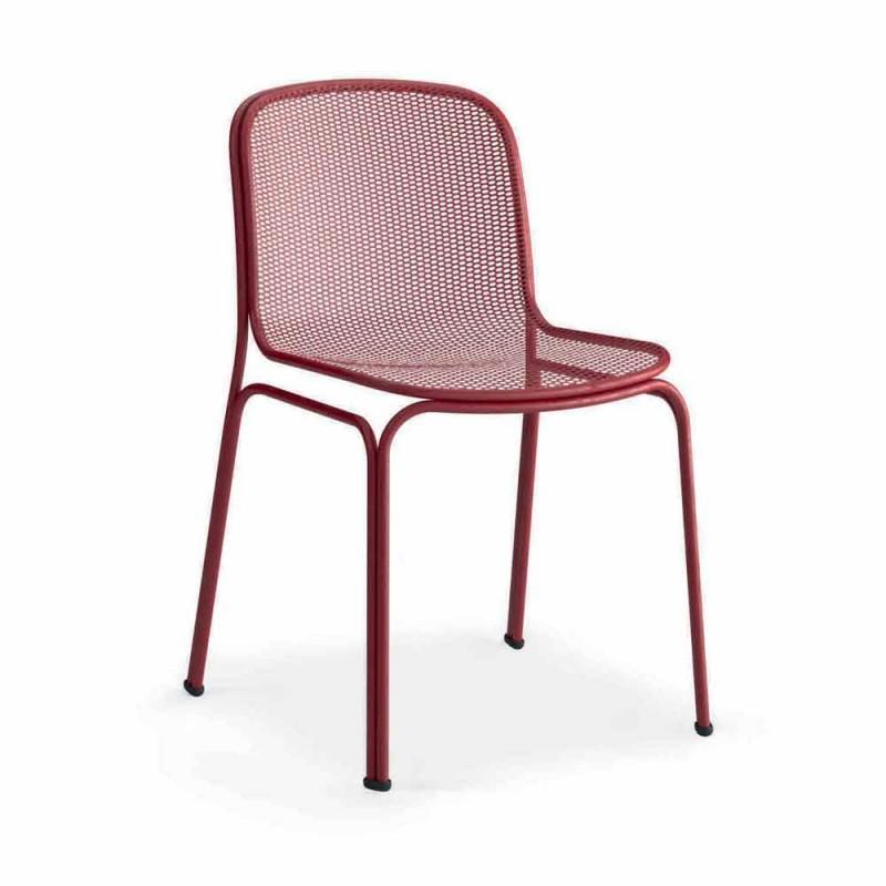 Chaise d'extérieur empilable en métal Made in Italy, 4 pièces - Prunella