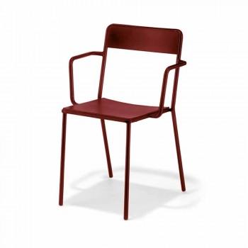 Chaise d'extérieur empilable en métal Made in Italy, 4 pièces - Xylia
