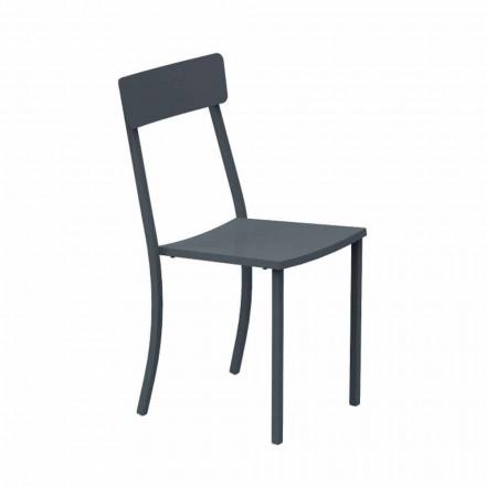 Chaise d'extérieur empilable en métal peint Made in Italy, 4 pièces - Tulle