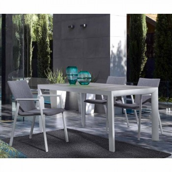 Chaise d'extérieur empilable en tissu et aluminium, 4 pièces - Kyo