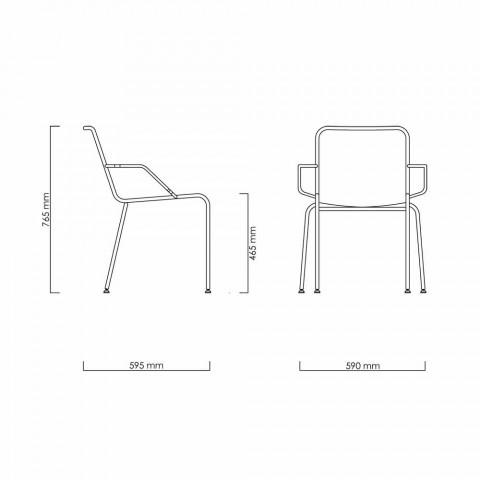 Chaise d'extérieur en acier avec accoudoirs et corde Made in Italy - Madagascar2