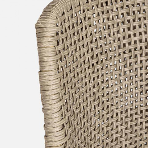Chaise d'extérieur en corde et tissu avec base en teck Homemotion, 2 pièces - Lesya