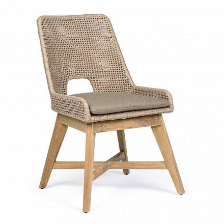 Chaise d'extérieur en corde et tissu avec base en teck, Homemotion 2 pièces - Lesya