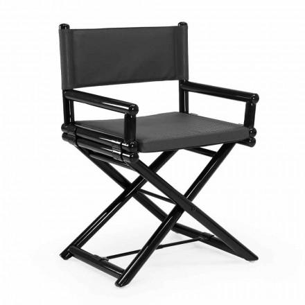 Chaise d'extérieur en bois naturel ou tissu design noir et refermable - Suzana