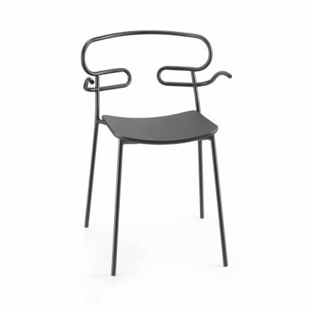Chaise d'extérieur en métal et polyuréthane Made in Italy, 2 pièces - Trosa
