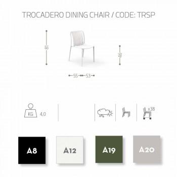 Chaise d'extérieur moderne empilable Trocadero Talenti, en aluminium