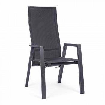 Chaise d'extérieur inclinable en textilène et aluminium, 4 pièces - Lucia