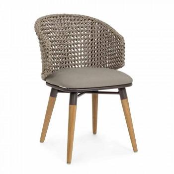 Chaise d'extérieur Tortora en bois, aluminium et tissu Homemotion - Luana