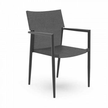 Chaise de jardin avec accoudoirs empilables aluminium et textilène - Adam Talenti