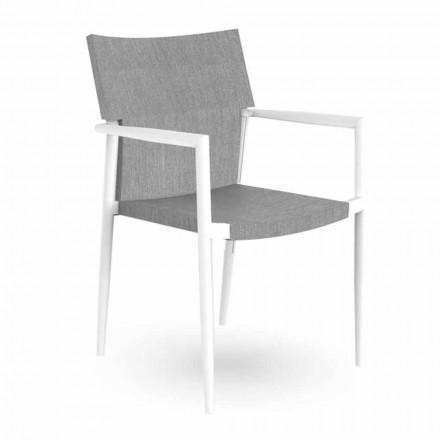 Chaise de jardin avec accoudoirs empilable en aluminium et textilène - Adam Talenti