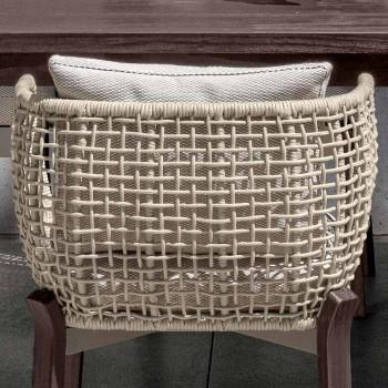 Chaise de jardin avec accoudoirs en corde, tissu et bois - Argo by Talenti
