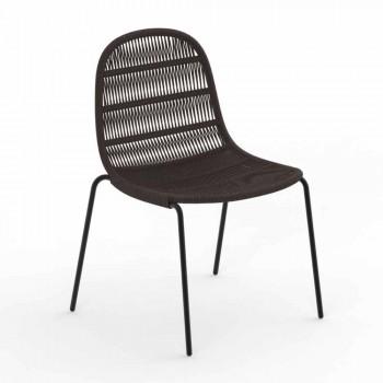 Chaise de jardin design moderne en aluminium et tissu - Panama - Talenti