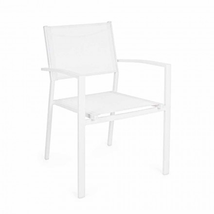 Chaise de jardin empilable au design moderne en aluminium et textilène - Franz