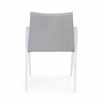 Chaise de jardin moderne avec accoudoirs en aluminium blanc Homemotion - Liliana