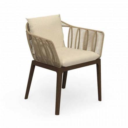 Chaise de jardin moderne en bois de teck et tissu - Cruise Teak par Talenti
