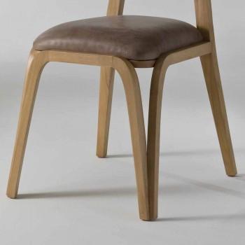 chaise à manger en bois et en cuir design moderne, l.41xp.46 cm, Carol