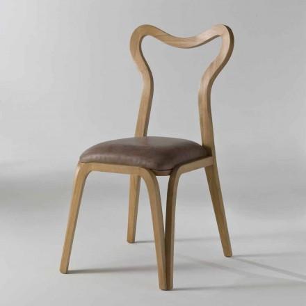 Chaise à manger design moderne en bois et cuir, L.41xP.46cm, Carol
