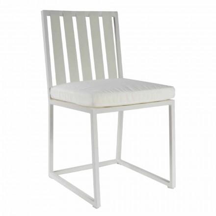 Chaise de salle à manger d'extérieur en aluminium et corde design de luxe 3 finitions - Julie