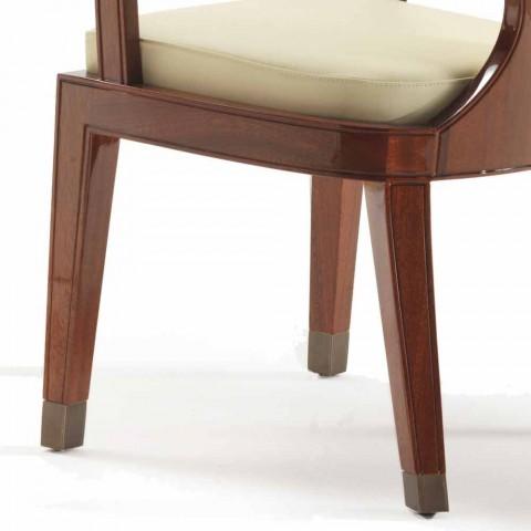 chaise rembourrée design à manger en bois lisse, L51xP53cm, Nicole