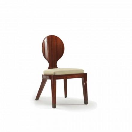 Chaise à manger rembourrée de design en bois lisse, L51xP53, Nicole