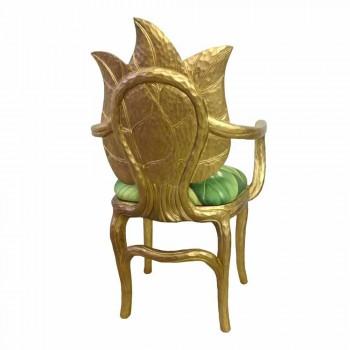 Chaise or rembourré design moderne déjeuner, fabriqué en Italie, Daniel