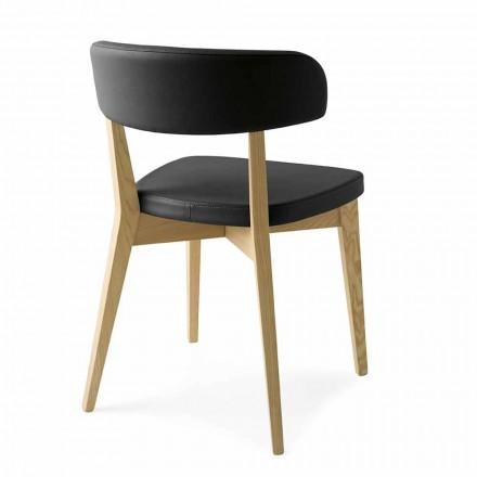Chaise de salle à manger en bois et tissu ou simili cuir Made in Italy - Siren