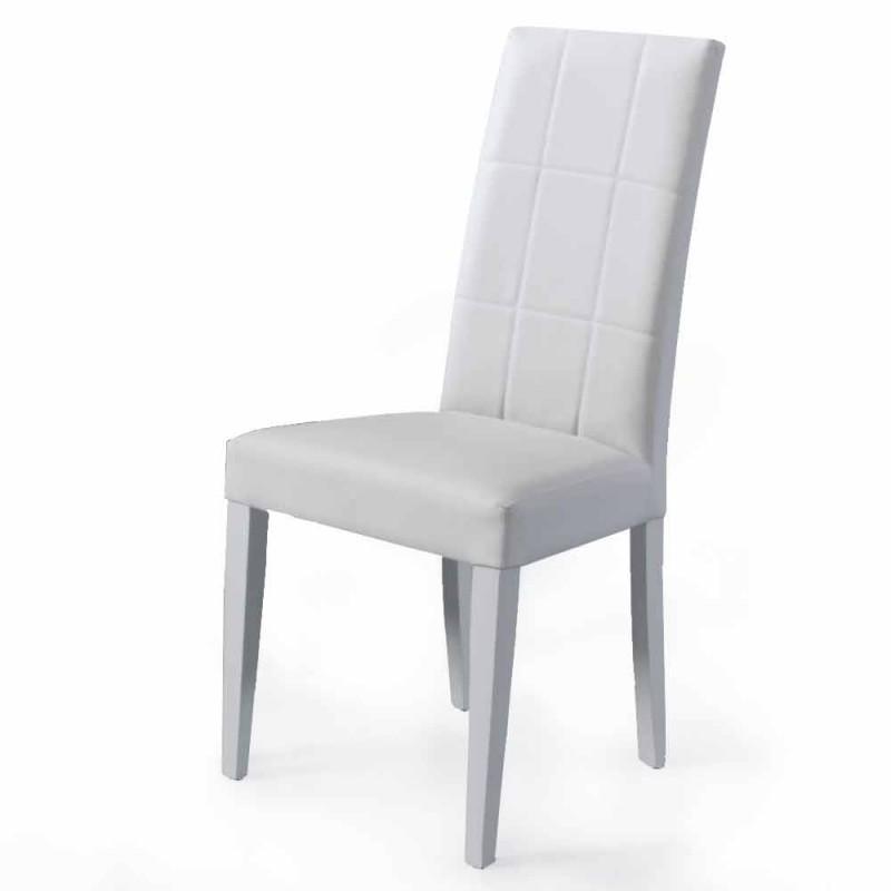 Chaise de salon rembourrée avec base en hêtre Made in Italy, 4 pièces - Fermali