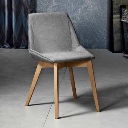 Sedia da soggiorno in tessuto e legno moderna made in Italy, Oriella