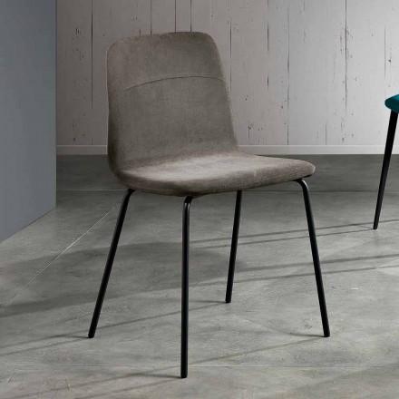 Chaise de salon moderne en tissu et métal fait en Italie, Egizia
