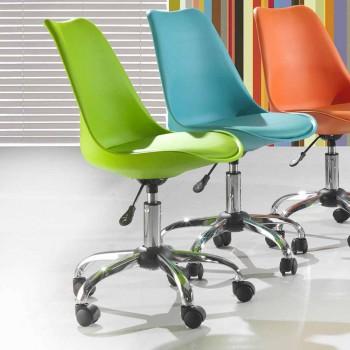 Chaise de bureau avec ascenseur à gaz en polypropylène coloré et métal - Loredana