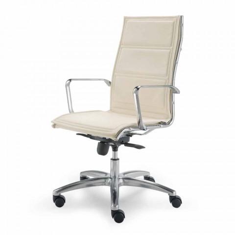 Chaise de bureau avec monocoque en simili cuir made in Italy Agata
