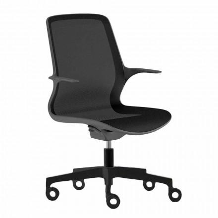 Chaise de bureau avec roues pivotantes en filet noir et nylon noir - Ayumu