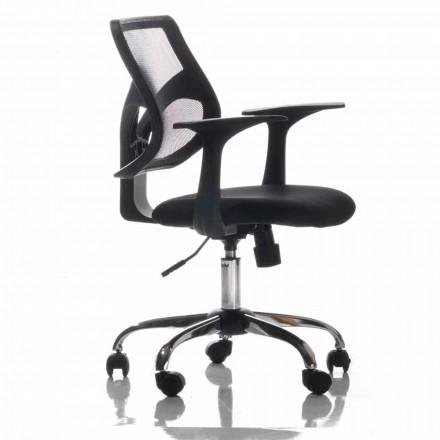 Chaise de Bureau avec Roulettes Pivotantes en Tecnofibre Noir et Tissu – Giovanna