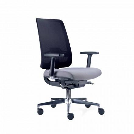 Chaise de bureau avec roues pivotantes en noir et tissu Tecnorete - Menaleo