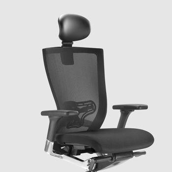 Chaise de bureau ergonomique avec roulettes en tissu et simili cuir - Takeshi