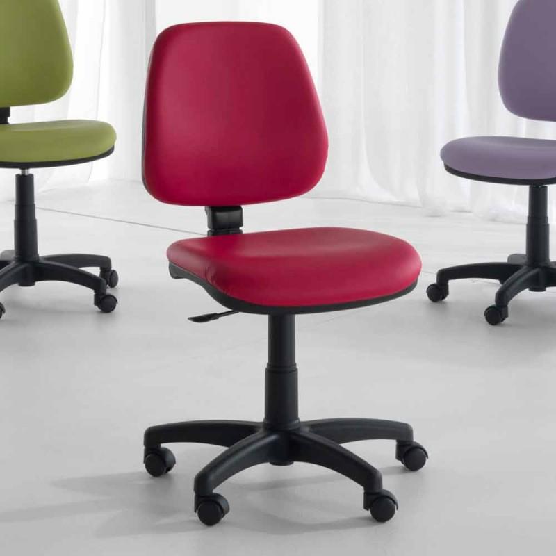 Chaise de bureau ergonomique pivotante en tissu et cuir synthétique - Danila