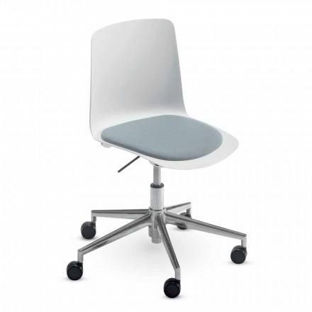 Chaise de bureau en aluminium et polypropylène Made in Italy, 2 pièces - Charita