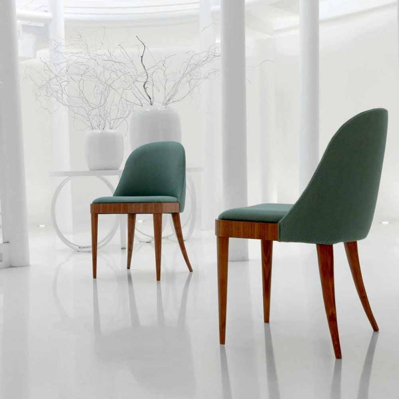 Chaise design rembourrée en noyer canaletto massif et tissu Calida