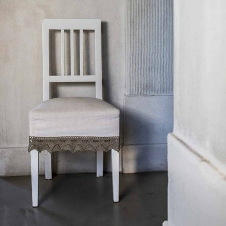 Chaise de cuisine design en bois de hêtre laqué blanc, Shirley, 2 pièces