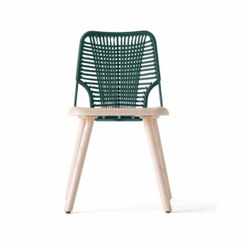 Chaise de haute qualité en bois, métal et corde Made in Italy, 2 pièces - Mandal