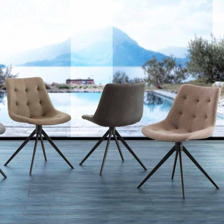 Chaise rembourrée matelassée Venezia, revêtement en tissu ou Eco Nabuk