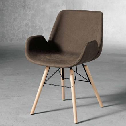 Chaise design en bois et textile fabriquée en Italie, Ranica