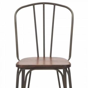 Chaise design moderne de style industriel en fer et bois, 2 pièces - Erika