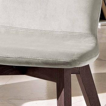 Chaise design moderne en velours et bois fabriquée en Italie, Carola