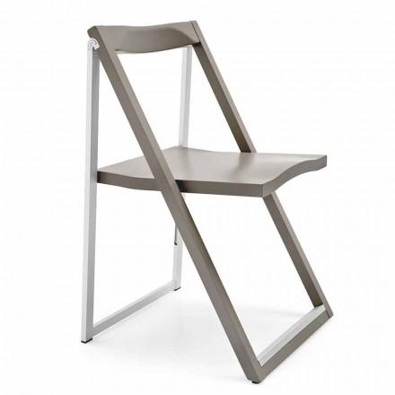 Chaise design pliante en aluminium et bois de hêtre Made in Italy, 2 pièces - Skip