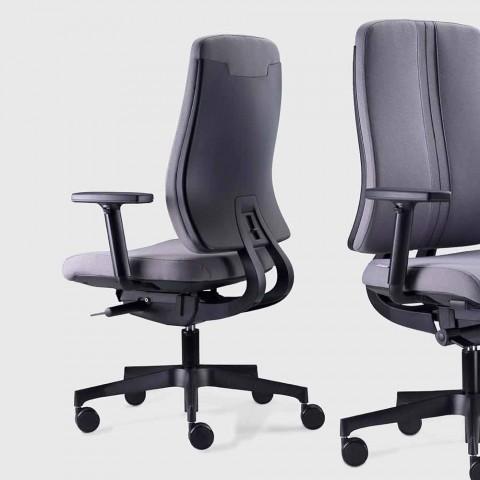 Chaise de bureau ergonomique moderne pivotante en tissu ignifuge noir - Menaleo