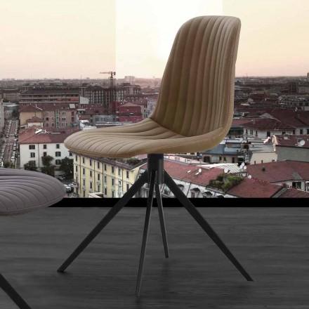 Chaise rembourrée Taranto, de design moderne, tissu ou Eco Nabuk