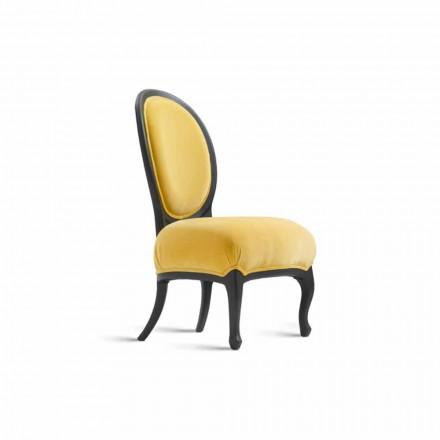 Chaise rembourrée en bois massif noir sablé, L60xP51 cm, Tati