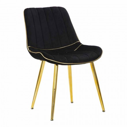 Chaise de salle à manger design rembourrée en bois et tissu, 2 pièces - Kolly